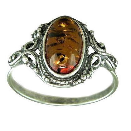 Assayed Silver Amber Ring
