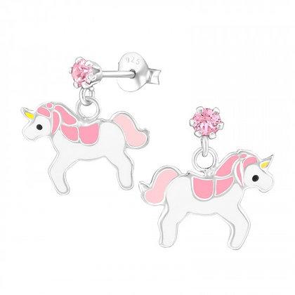 Unicorn Stud Earrings Crystal