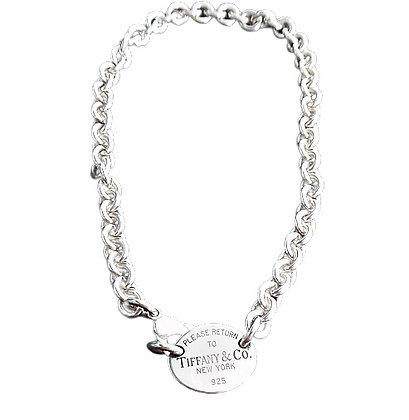 Tiffany Oval Tag Necklace 1 Oz +