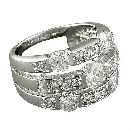 Assayed Silver Clear CZ Band Ring