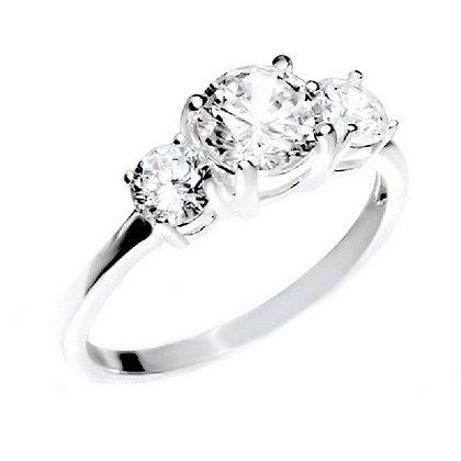 Assayed Silver Triple Stone Ring