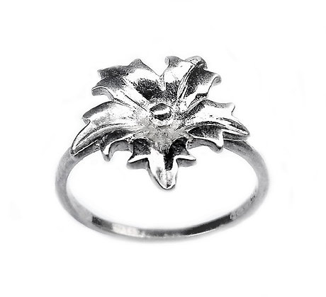 Assayed Silver Plain Flower Ring