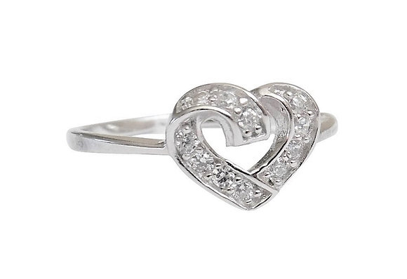 Assayed Silver Heart Ring Clear CZ