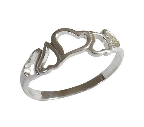 Girls Assayed Silver Abstract Hearts Ring