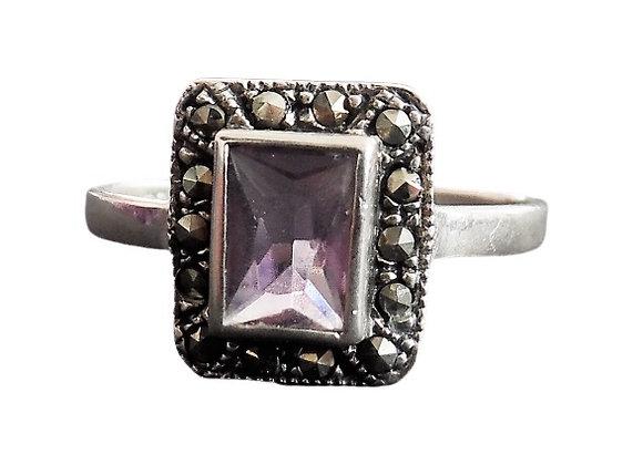 Assayed Ring Purple Rectanular Marcasite