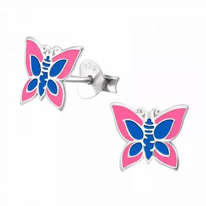 Pink Blue Butterfly Earrings