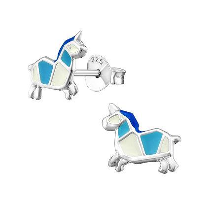 Blue White Unicorn Studs