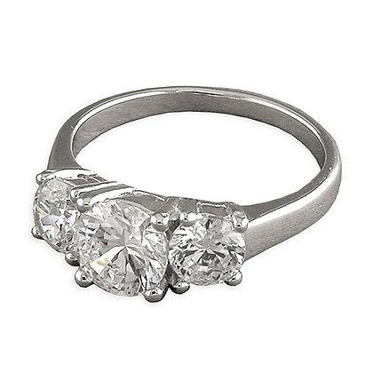 Assayed Silver Three Stone Ring Clear CZ