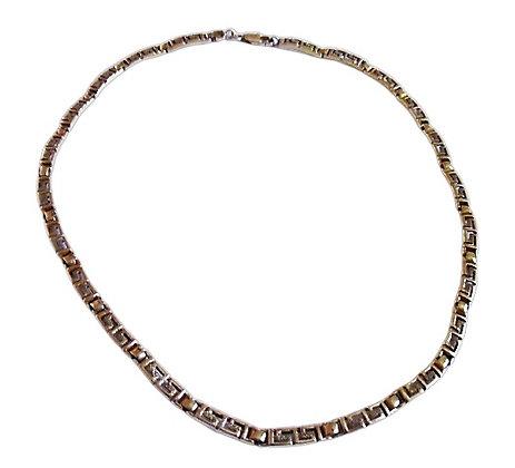 Gold Sterling Silver Greek Key Choker