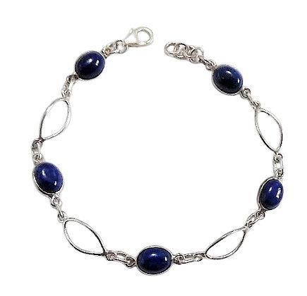 Sterling Silver Lapis Lazuli Bracelet Oval Blue