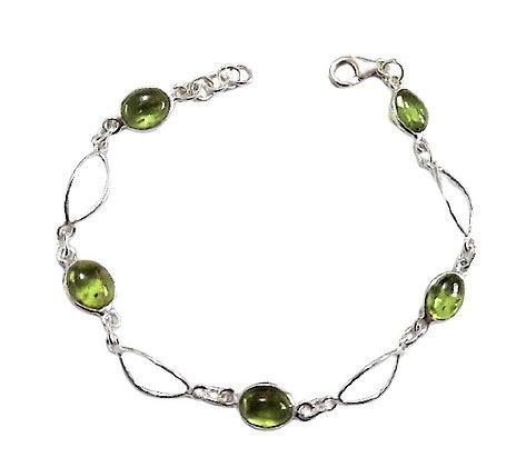 Sterling Silver Peridot Bracelet Oval Green