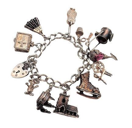 Assayed Heavy Silver Charm Bracelet 2 Oz +