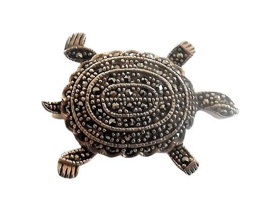 Sterling Marcasite Turtle Brooch