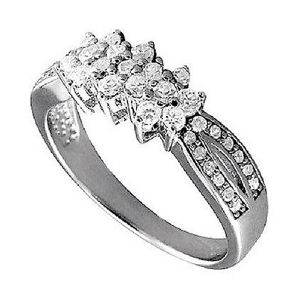 Assayed Silver Triple Flower Ring Clear CZ