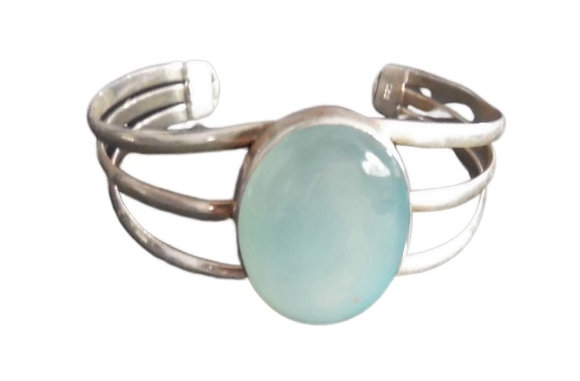 Sterling Chalcedony Bangle Green