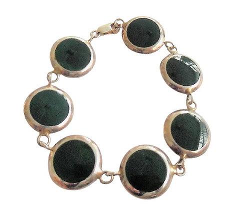 Hallmarked Silver Olive Green Bracelet