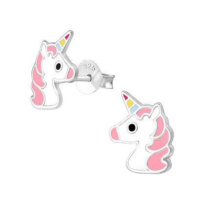 Sterling Silver Unicorn Head Earrings