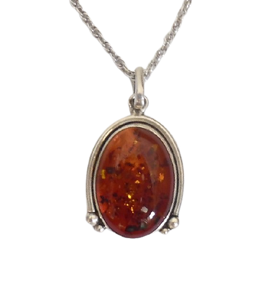 Large Sterling Amber Necklace