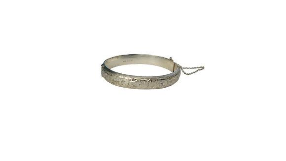 Assayed Vintage Silver Bangle Patterned