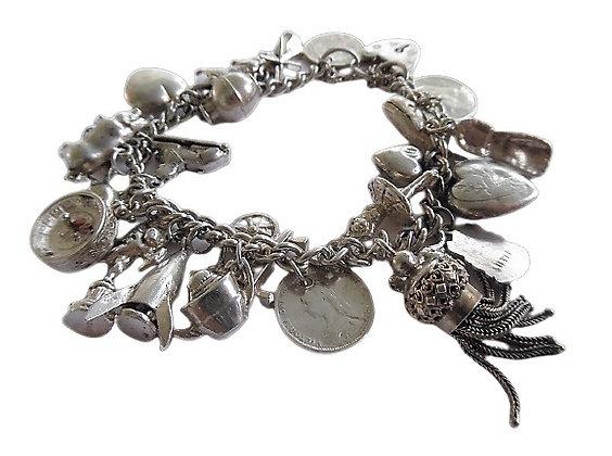 Vintage Sterling Silver Charm Bracelet 2 Oz +