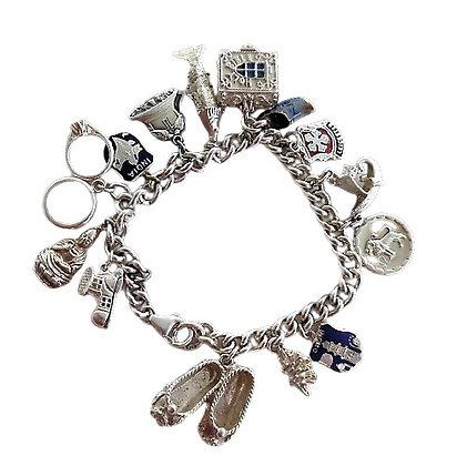 Vintage Assayed Sterling Charm Bracelet 1 Oz +