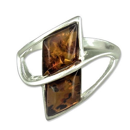 Assayed Silver Amber Ring Brown