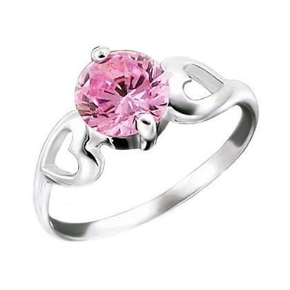 Assay Hallmarked Pink Ring Hearts