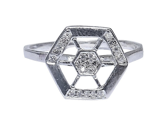 Assayed Sterling Silver Hexagon Ring Clear CZ