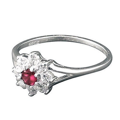 Assayed Silver Ring Light Purple Flower Clear CZ