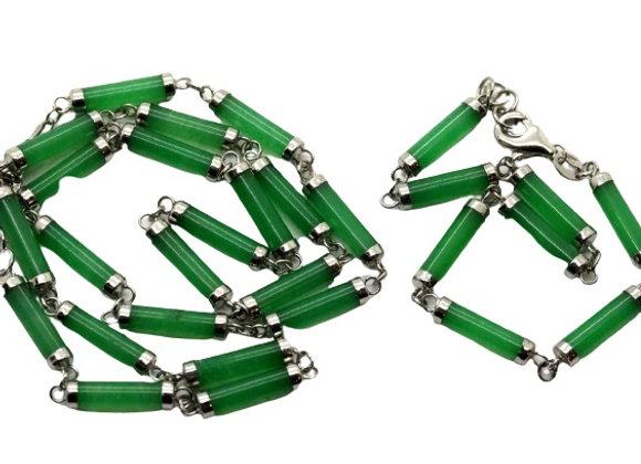 Sterling Silver Green Jewellery Set