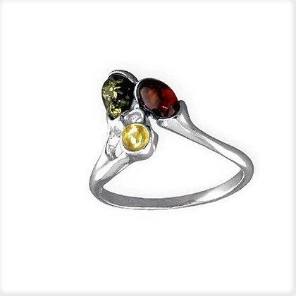 Assayed Sterling Mixed Amber Ring