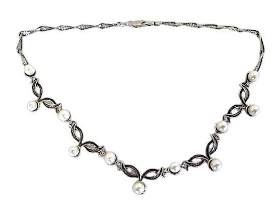 Sterling Silver Pearl Necklace Art Nouveau