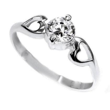 Assay Hallmarked Clear Ring Hearts