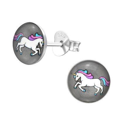 Round Unicorn Earrings