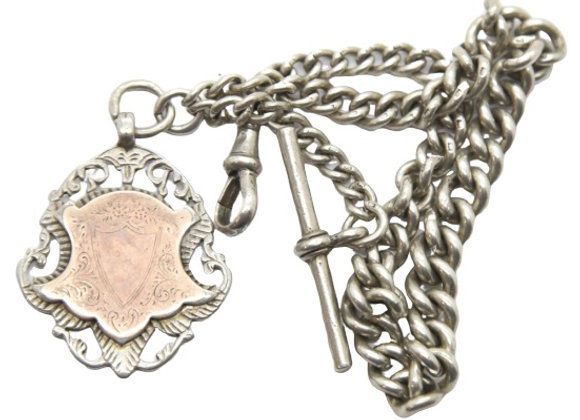 Vintage Silver Albert Chain With Fob Edwardian 2 oz +