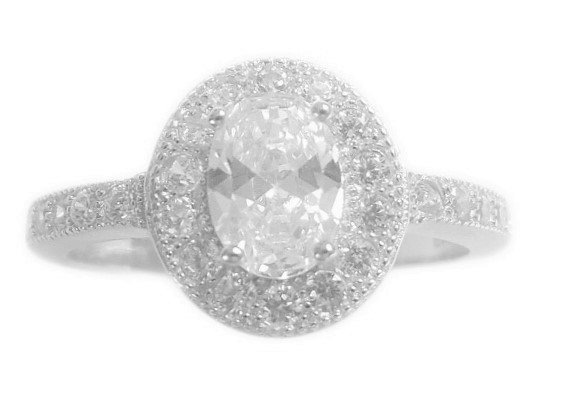 Assayed Oval Silver Ring Clear Zirconia