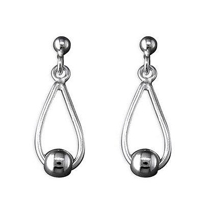 Sterling Silver Plain Drop Earrings Teardrop