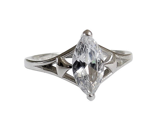 Assayed Silver Marquise Ring Clear Solitaire
