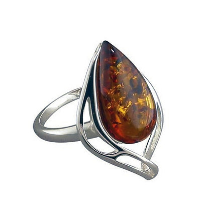 Assayed Pear Brown Amber Silver Ring Contemporary