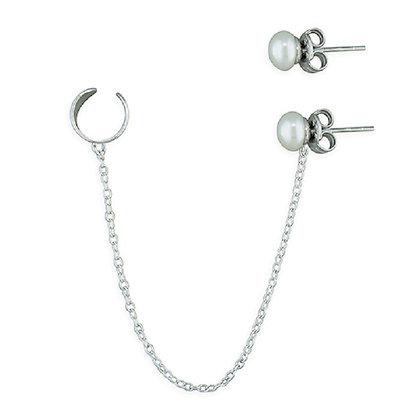 Sterling Chain Pearl Helix Earrings
