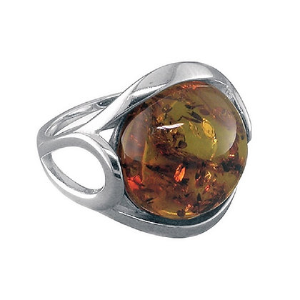 Assayed Silver Ring Brown Cabachon Amber