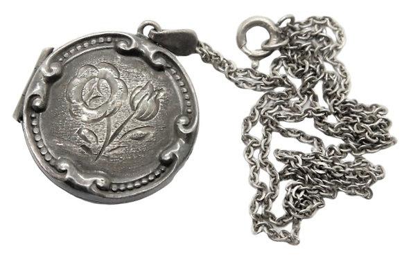 Vintage Assayed Silver Locket Round