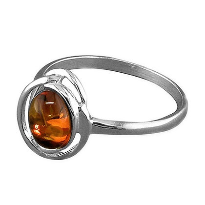 Assayed Sterling Silver Ring Brown Amber Gemstone