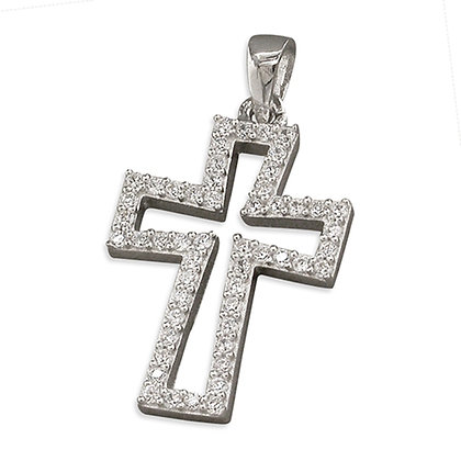 Sterling Silver CZ Cross and Chain