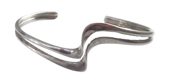 Vintage Sterling Silver Double Wave Bangle 1/2 Oz