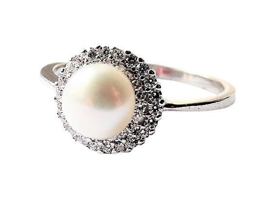 Assayed CZ Sparkling Pearl Ring