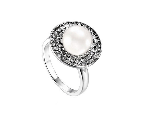 Assayed Silver Pearl Ring White