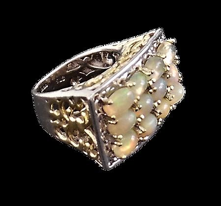 Assayed Silver Opal Ring Rectangular