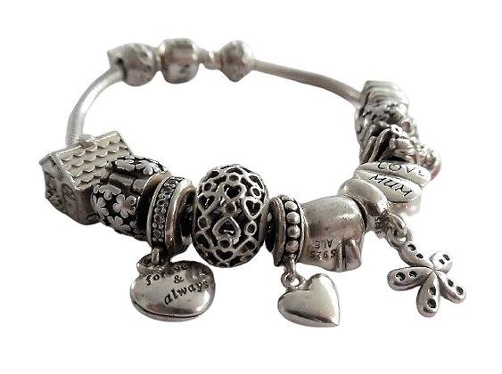 Vintage Pandora Charm Bracelet 1 Oz +