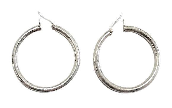 Sterling Silver Chunky Hooped Earrings 40mm